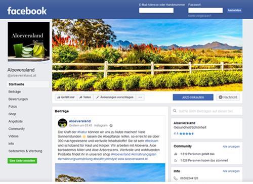 Facebook Seite von Aloeveraland.at