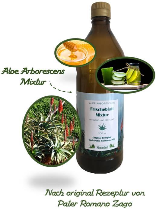 Aloe Mixtur nach Pater Zago in der 700 ml Glasflasche