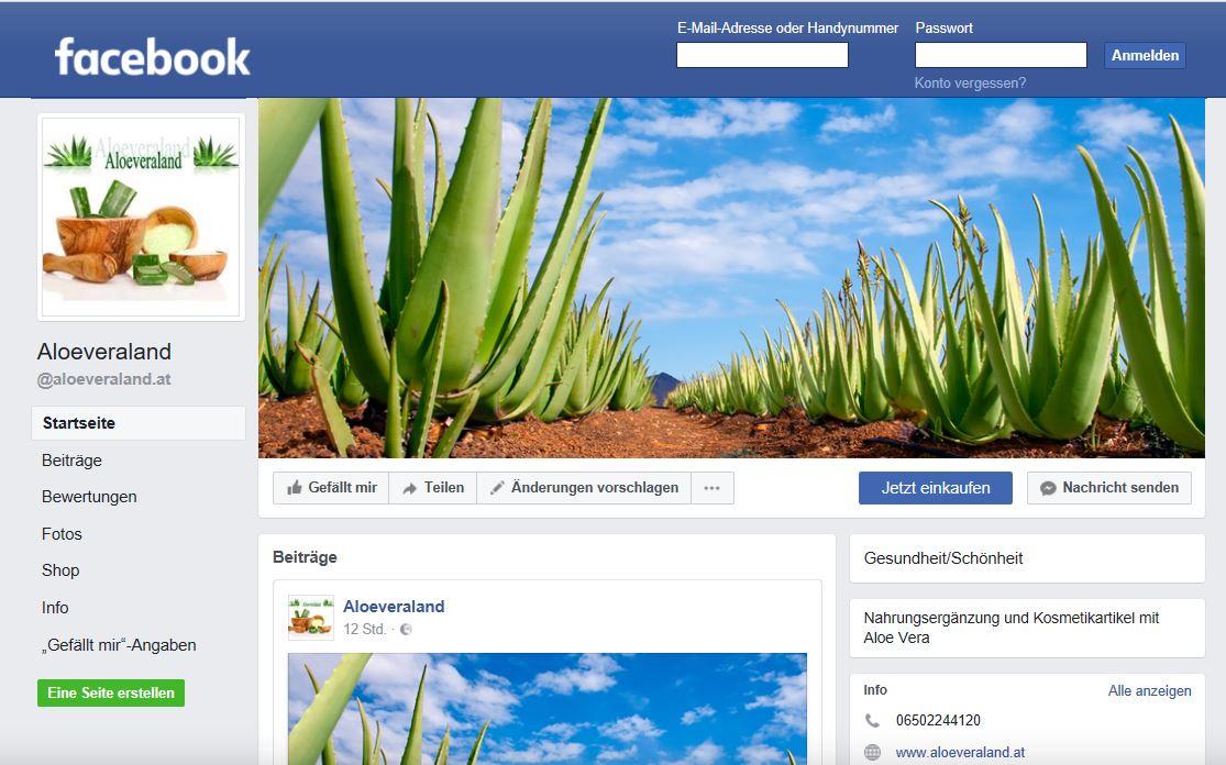 Facebook Startseite von Aloeveraland.at