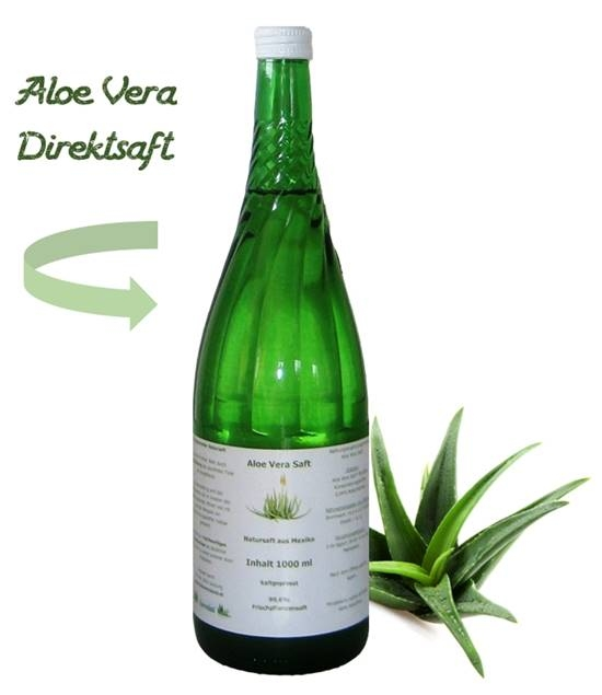 Aloe vera juice (natural) - glasbottle (1000 ml)